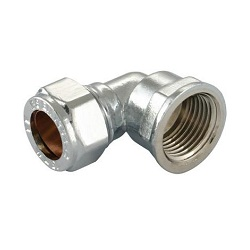 Chrome Compression Female Iron Elbow