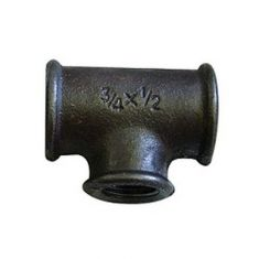 """Black Malleable Iron 3/4"""" x 1/2"""" x 3/4"""" End Reducing Tee"""