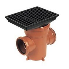 FloPlast D530 110mm Underground Drainage Bottle Gully Rectangular Top Back Inlet