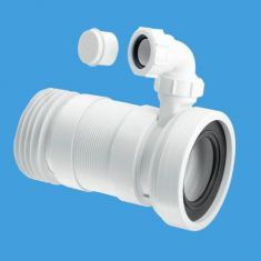 """McAlpine WC-F26RV Straight Flexible Pan Connector With Vent Boss Long Length 4""""/110mm"""