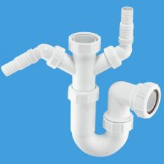"""McAlpine WM11 1½"""" Sink Trap With Twin 135° Nozzles 75mm Water Seal"""